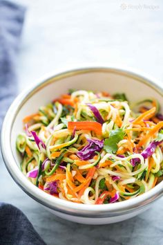 Asian Zucchini Noodle Salad ~ Zucchini noodles with cabbage, carrots, red bell pepper, green onions, tossed with a sesame rice vinegar dressing. (Use unsweetened rice vinegar and add Stevia drops. Zucchini Noodles Salad Recipe, Zucchini Noodle Recipes, Zoodle Recipes, Healthy Zucchini, Veggie Noodles, Spiralizer Recipes, Veggie Recipes, Dinner Recipes, Cooking Recipes