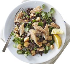 MACKEREL AND LENTIL SALAD parsnips, peeled and cut into small cubes 1 tbsp olive oil 1 tsp clear honey 2 lemons, 1 juiced, 1 cut into wedges 2 tsp creamed horseradish bag watercress 2 x pouches ready-to-eat puy lentils 4 smoked mackerel fillets, flaked Puy Lentil Salad, Red Lentil Soup, Puy Lentil Recipes, How To Cook Lentils, Smoked Mackerel, Easy Mashed Potatoes, Roasted Parsnips, French Lentils, Sweet Potato Chili