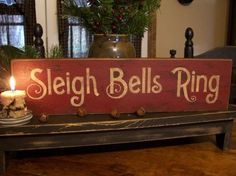 wooden sign silver bells christmas | Sleigh Bells Ring Wood Christmas Sign | HO!HO!HO!