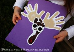 Handprint and Footprint Reindeer Craft. I think I may just use this idea for my Christmas cards this year.