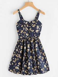 Shop Ditsy Print Random A Line Cami Dress at ROMWE, discover more fashion styles online. Dress Outfits, Casual Dresses, Short Dresses, Casual Outfits, Fashion Dresses, Dress Clothes, Clothes 2018, Floral Dresses, Cute Summer Outfits