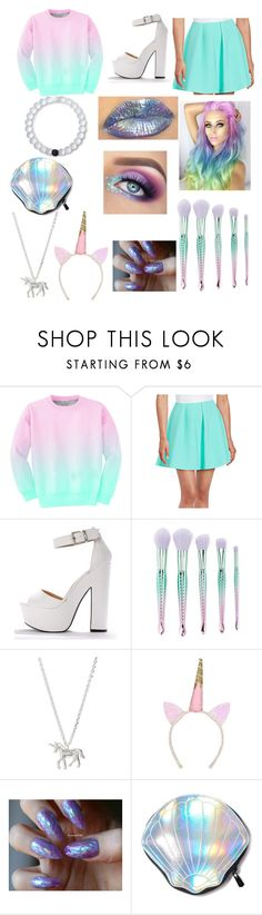 """""""Mermaid/Unicorn/Rainbow/I was bored and decided to make this even though I don't believe in unicorns and mermaids/yee"""" by sociallyawkwardyam ❤ liked on Polyvore featuring Aloha From Deer, Likely, Forever 21, Estella Bartlett, Circus by Sam Edelman and Lokai"""