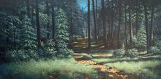 """Middle Lake Trail"" size 18x36 original acylic by Thomas Cory"
