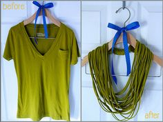 Upcycle an old t-shirt into a necklace - great DIY instructions ~ BeforeAfter by a pretty penny, via Flickr