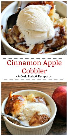 Cinnamon Apple Cobbler An easy and delicious homemade dessert with. Cinnamon Apple Cobbler An easy and delicious homemade dessert with cinnamon and fresh apples baked in a cake-like batter, perfect for fall. Fall Recipes, Yummy Recipes, Holiday Recipes, Yummy Food, Thanksgiving Desserts Easy, Fall Desserts, Christmas Desserts, Christmas Cooking, Pecan Desserts