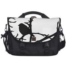 Bird on a Branch Laptop Commuter Bag ~ This contemporary fine art laptop bag features a black and white modern abstract pattern of a silhouette Dark-eyed Junco (Junco hyemalis) perched on a bare branch high in a tree.