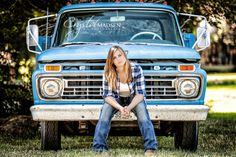 A very creative senior portrait session with an old Ford pickup truck.