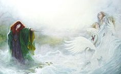 """Is she changing children into swans? """"But this is my truth; I who am Morgaine tell you these things, Morgaine who was in later days called Morgan le Fay."""" ― Marion Zimmer Bradley, The Mists of Avalon Mists Of Avalon, Illustrator, Irish Mythology, Legends And Myths, Celtic Culture, Celtic Art, Irish Celtic, Gods And Goddesses, Fairy Tales"""