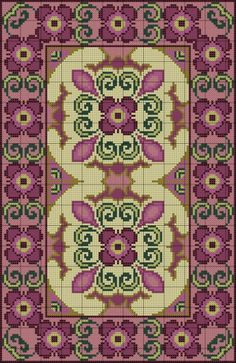 Purple Floral Rug of Cross Stitch Borders, Cross Stitch Charts, Cross Stitch Designs, Cross Stitching, Cross Stitch Embroidery, Embroidery Patterns, Cross Stitch Patterns, Latch Hook Rugs, Cross Stitch Pictures