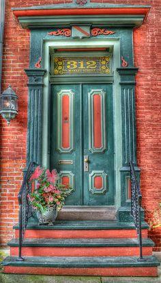 Doorway in Millersburg, Pennsylvania - Such beautiful colors! Grand Entrance, Entrance Doors, Doorway, Cool Doors, Unique Doors, Door Knockers, Door Knobs, When One Door Closes, Door Gate