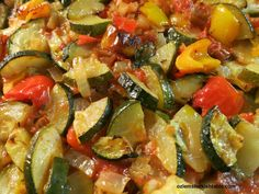 Baked vegetables with olive oil in tomato sauce; easy, healthy and gluten-free