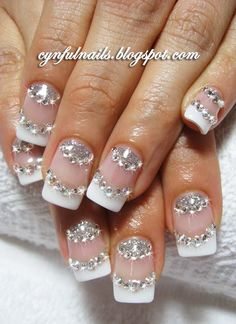 More sparkling rhinestone nails....but on a french manicure.  www.harmanbeads.com for all your nail rhinestones needs!