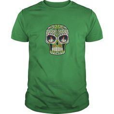 Candle Eyes Green Sugar Skull Tshirt