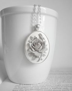 Gray Rose Necklace. Winter Rose. Flower Necklace. Grey Jewelry. Gray Necklace. Winter Fashion. Silver Necklace. Gray and White.. $18.00, via Etsy.