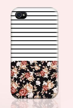 Striped Floral iPhone-Stripes iPhone-Floral by CreativeLaughs