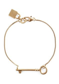 With a Little Lock Bracelet - Gold, Solid, Fairytale, Casual