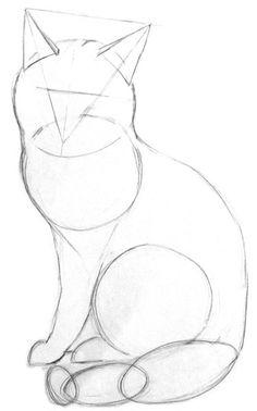 Art Drawings Sketches Simple, Pencil Art Drawings, Cool Drawings, Cute Animal Drawings, Animal Sketches, Cat Drawing Tutorial, Cat Sketch, Realistic Cat Drawing, Simple Cat Drawing