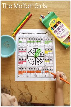 Teen Numbers with Ten Frames- Build math skills with this fun GAME! Spin a number, color in the ten frame and complete the addition problem Teen Numbers, Math Numbers, Kindergarten Math Activities, Teaching Math, Phonics Activities, Math Skills, Math Lessons, Build Math, Math Groups