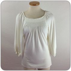 KAREN KANE PEASANT TOP Cream color goes with everything top. Elastic front on pad back and at shoulders.  Slightly heavy rayon jersey knit with 10% spandex.  3/4 sleeves. Excellent condition. Karen Kane Tops