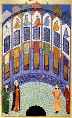 Persian Painting نظامی گنجوی مثنوی هفت پیکر 1410 میلادی موزه، لیسبون  The Hall of Seven Images Prince Bahram Gur enters The Hall of Seven Images from the Anthology of Iskandar Sultan, Iran, 1410. Calouste Gulbenkian Foundation Museum, Lisbon