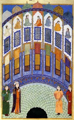 Persian Painting نظامی گنجوی مثنوی هفت پیکر 1410 میلادی موزه، لیسبون  The Hall of Seven Images Prince Bahram Gur enters The Hall of Seven Images from the Anthology of Iskandar Sultan, Iran, 1410. Calouste Gulbenkian Foundation Museum, Lisbon