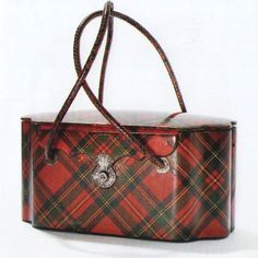 The most delightful box purse to end all box purses...Royal Stewart tartan box bag, Scotland, 1850-1900