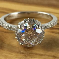 1.5 ct Genuine white Topaz Rhodium Engagement Ring  | CC 046  Size 7 only. Starting at $1