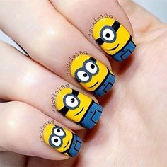 Cute minion nail art