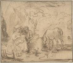 "Rest on the Flight into Egypt, School of Rembrandt, 1620-69, p.443 (""nine or ten Old Master drawings: the flight into Egypt ... circle of Rembrandt mostly"")"