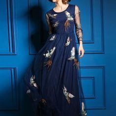 Paneled Mesh Maxi Dress