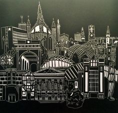 Newcastle, Gateshead skyline architecture lino print. Tyne Bridge, Sage, Baltic, Theatre Royal, Keep, St Marys by StudioPinnock on Etsy