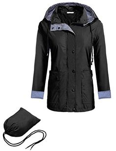 9569866f6d2 Women Rain Coat Cnlinkco Hooded Reversible Waterproof Travel Jacket with  Mini Bag (L