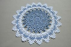 Blue white crochet doily 14 inches Round doily Lace crochet doily Doily by by Patricia Kristoffersen Table décor Living room décor by CrochetedCosiness on Etsy