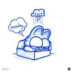 Blue Doodles #47: Garfield and the case of the Mondays. | Flickr - Photo Sharing!