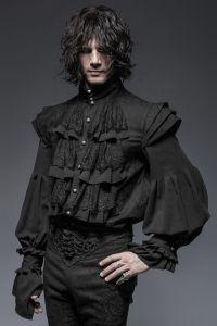 Viktorianisches Rüschenhemd mit Schultern im Rüstungs-Look