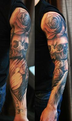 Chronic Ink Tattoo, Toronto Tattoo                       -  In progress skulls, roses and angelic tattoo by Dom. A pocket watch to be added next, stay tuned