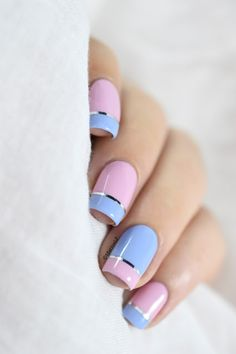 Summer nail art 985231147876621 - Marine Loves Polish: Magic Touch, quand le vernis devient gel… [Pantone 2016 – Color Block nail art] Source by marinelp Line Nail Designs, Latest Nail Designs, Short Nail Designs, Latest Nail Art, Pink Nails, Gel Nails, Manicure, Nail Polish, Gel French Tip Nails