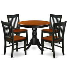 Round 36 Inch Table and Wood Seat Chairs Kitchen Set in Black and Cherry Finish (Number of Chairs Option) - Overstock - 28712098 Dining Room Sets, Black Dining Room Furniture, 3 Piece Dining Set, Pub Table Sets, Dining Room Chairs, Dining Table, Dining Area, Kitchen Dinette Sets, Small Kitchen Tables