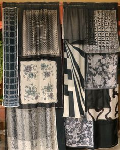 Black sheer panels with layers of black and white silk and chiffon vintage scarves. Each panel had a rod pocket top and measures wide by long. Porch Curtains, Scarf Curtains, Gypsy Curtains, No Sew Curtains, Hollywood Regency, White Silk, Black And White, Bohemian House, Vintage Scarf
