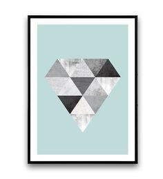 Diamond poster, Scandinavian design, Geometric art, diamond print, nordic design, Triangles print, Watercolor abstratct, minimalist print  Dimensions