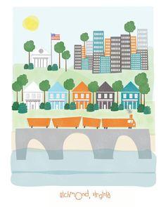 Richmond, Virginia - 11x14 print - city illustration poster wall decor children nursery art