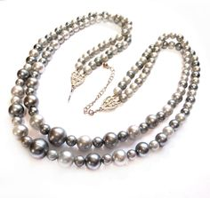 Retro Green Faux Pearl Bead Necklace
