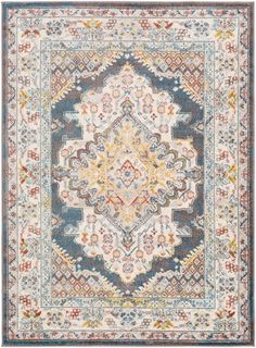Millican MLLC with colors Camel, Camel/Garnet/Mustard/Saffron/Pale Blue/Bright Blue/Light Gray. Machine Woven Polypropylene Traditional made in Turkey Yellow Area Rugs, Woven Rug, Bedroom With Sitting Area, Rugs, Master Bedroom Sitting Area, Medallion Design, Colorful Rugs, Area Rugs, Bohemian Rug