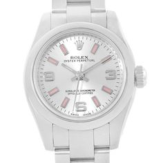 a23291ac9148 13990 Rolex Nondate Silver Dial Pink Hour Markers Ladies Watch 176200  SwissWatchExpo Pre Owned Rolex,