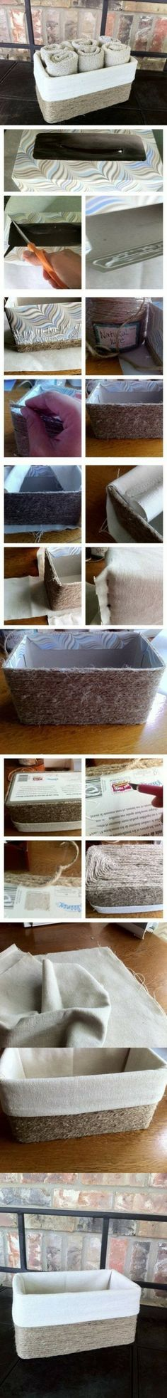 Cesta con caja de cartón y cuerda de cáñamo