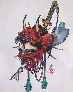 katana tattoo on InspirationdeYou can find Japanese tattoos and more on our website.katana tattoo on Inspirationde Oni Tattoo, Irezumi Tattoos, Samurai Tattoo, Hannya Maske Tattoo, Tattoo Daruma, Hanya Tattoo, Mantis Tattoo, Japanese Mask Tattoo, Japanese Tattoo Designs