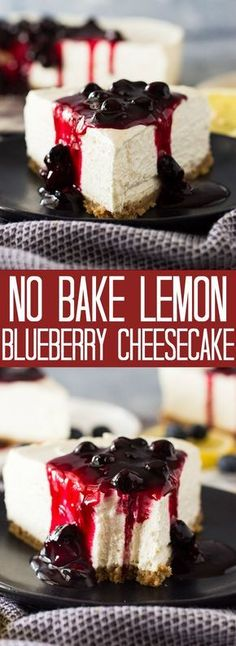 This cream, rich, and easy No Bake Lemon Blueberry Cheesecake is the perfect spring and summer dessert! Complete with a homemade no bake buttery crust! # spring Desserts No Bake Lemon Blueberry Cheesecake Best Homemade Cheesecake Recipe, Bake Blueberry Cheesecake Recipe, Lemon Cheesecake Bars, Blueberry Desserts, Cheesecake Desserts, Köstliche Desserts, Dessert Recipes, Spring Desserts, Jello No Bake Cheesecake