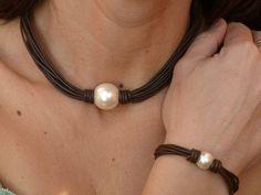 collares con una perla de cuero - Buscar con Google
