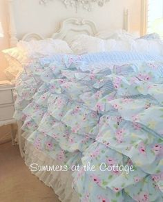 Summers at the Cottage!! Shabby Chic Beach Cottage Bedding Linens Rachel Ashwell Duvet Quilt Chenille Bedspread Shower Curtain Vintage Romantic Homes