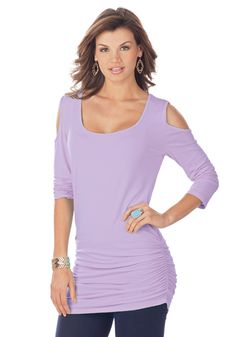 Ultimate Cold Shoulder Tee - Sexy Cold Shoulder Tee, with flattering side-ruching, looks great over slim pants, leggings and jeans, its tunic length, for perfect coverage. Stretch cotton fabric conforms to your body without ever clinging.  #lelspring